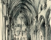Original Drawing - Architectural Church Interior, Newton #5 - by Michelle Arnold Paine