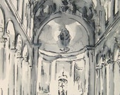 Architectural Ink Drawing - Saint Ignatius - New York City-  by Michelle Arnold Paine
