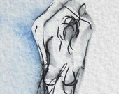 Figure Drawing - Stretching Blue Figure - Ink and watercolor on Paper -  by Michelle Arnold Paine