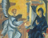 Annunciation - Byzantine Icon Style - Oil Painting - 5x7
