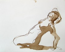 Figure Drawing - Kneeling Stretch  -Original Ink on Paper -  5x7 by Michelle Arnold Paine