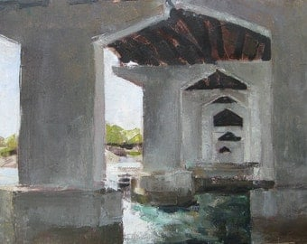 Bridge Landscape Oil Painting - Original - by Michelle Arnold Paine - Canvas Wall Art