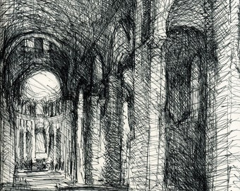 Cathedral Interior - Ink Drawing - Matted to 14x18 - by Michelle Arnold Paine