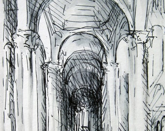 Poitiers Church Interior - Ink Drawing - 4x6 -by Michelle Arnold Paine