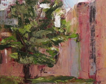Landscape Oil Painting - Evening Courtyard - 9x6 - by Michelle Arnold Piane