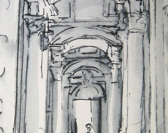 St. Peter's Basilica Rome -Ink Drawing - 4x6 -  by Michelle Arnold Paine