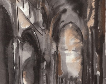 Ink Wash Drawing: Cathedral Interior - Framed