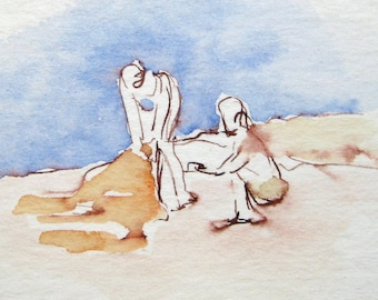 Original Watercolor - Beach Scene - Matted to 8 x 10 - by Michelle Arnold Paine