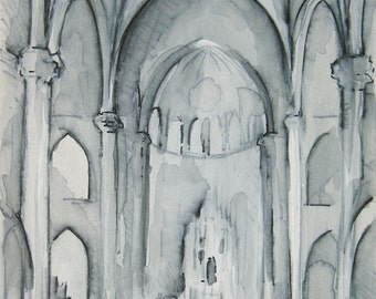 Advent Church 1 - Mixed Media Drawing -- by Michelle Arnold Paine