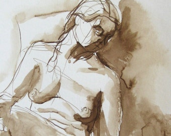 Figure Drawing -  Ink on Paper - by Michelle Arnold Paine