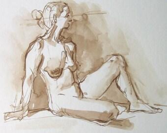 Female Figure Original Drawing Ink on Paper - Dessin de Nu - Figurative Art - Pen and Ink Art - Fine Art Nude -