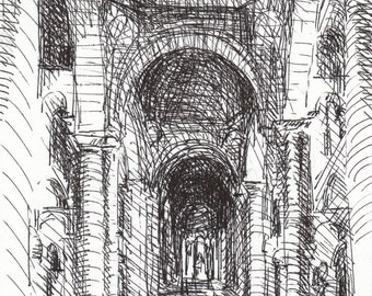 Ink Drawing - French Architectural Interior - Saint Hilaire - 8 x 10 - by Michelle Arnold Paine