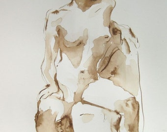Figure Drawing - Katie Seated - Ink on Paper -  by Michelle Arnold Paine