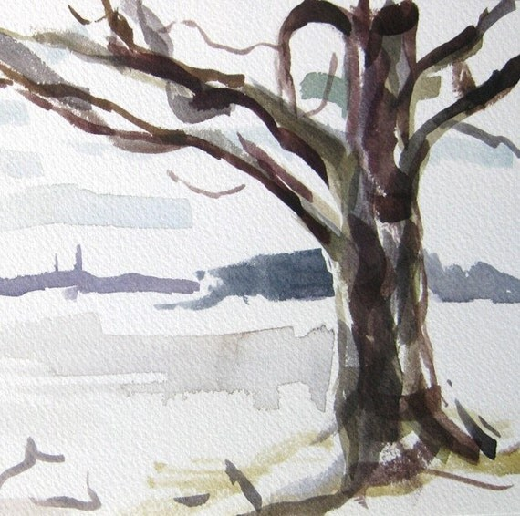 Maine Landscape Watercolor Painting - 5x10 - by Michelle Arnold Paine