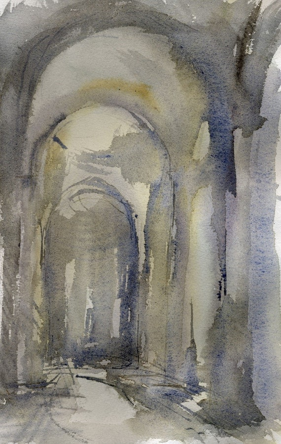 Church Interior - Watercolor painting - by Michelle Arnold Paine