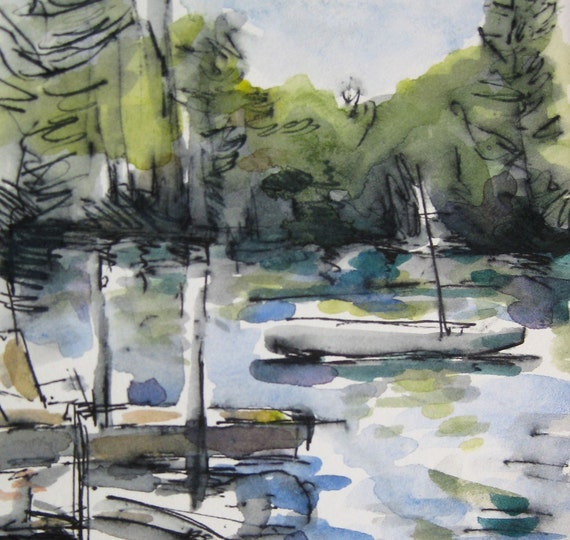 Dock Watercolor Landscape -by Michelle Arnold Paine
