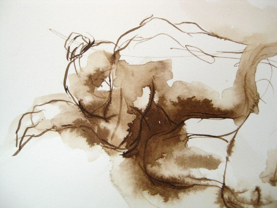 Figure Drawing --Original Ink on Paper -  10x7 by Michelle Arnold Paine