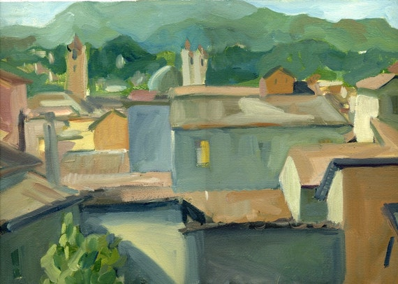 Italy  Landscape Painting - Rooftops - by Michelle Arnold Paine