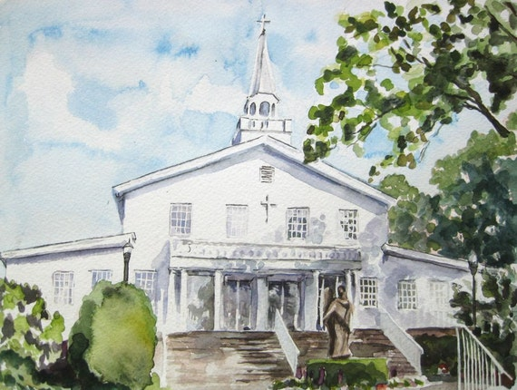 Wedding Church - Custom Watercolor Painting -  Personalized Wedding or Anniversary Gift