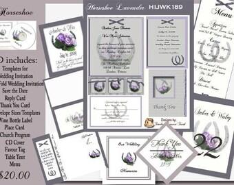 Delux Lavender Horseshoe Wedding Invitation Kit on CD