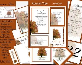 Delux Autumn Tree Wedding Template Kit on CD