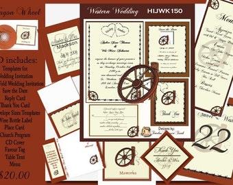 Delux Western Wagon Wheel Wedding Invitation Kit on Cd