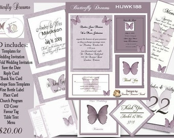 Butterfly Dreams Delux Wedding Invitation Kit on CD