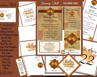 Delux Country Fall Wedding Invitation Kit on CD
