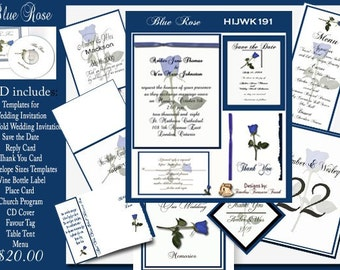 Blue Rose Wedding Invitation Kit on CD