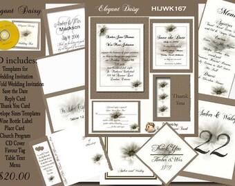 Delux Elegant Daisy Wedding Invitation Kit on CD