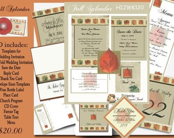 Delux Fall Splendor Wedding Invitation Kit on CD