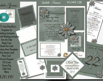 Delux Subtle Green Wedding Invitation Kit on CD
