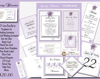 Delux Spring Blooms Wedding Template Kit on CD
