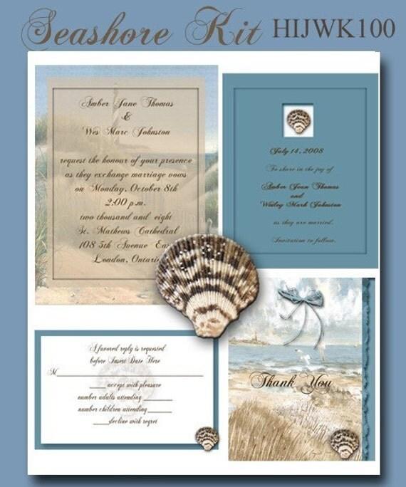 Wedding Invitation Kit: Beach Themed Complete Wedding Invitation Kit Printable And