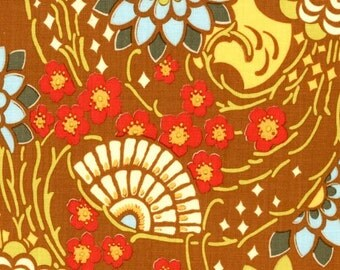 SALE - Amy Butler Lotus -- GEISHA FANS, Camel