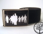 Oh No Zombies with black background on Antiqued Steel Buckle with black cotton belt