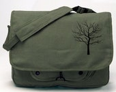 Military style Olive Drab Green color Bare Tree Apparel Messenger Bag