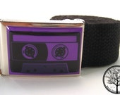 Purple Analog Cassette Tape on metal Chrome color Nickle Buckle with Black web Belt