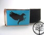 Bare Tree Apparel Black Bird on Aqua blue background on chrome color nickel Buckle with Black web Belt