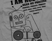 I am robot hear me process, process, process, error, error, error, system shutdown, GOODBYE. on Slate color Mens XXL 2001 American Apparel T-shirt