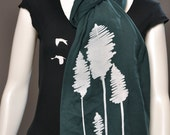 Abstract Tree print on Extra Long Forest Green color Jersey Scarf