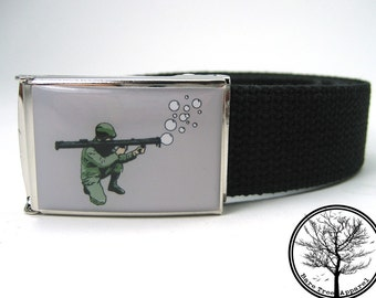 Bubble Bazooka on Gray Background on Chrome colored Nickel Buckle with Black Web Belt