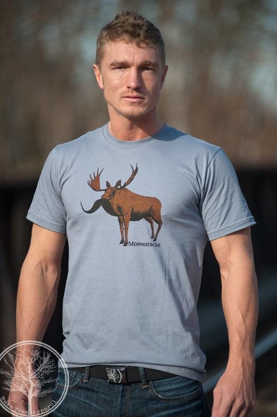 Moosestache on Large Slate color 2001 American Apparel T-shirt