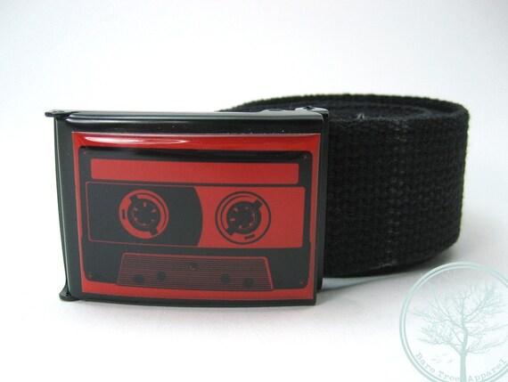 Red color Analog Cassette Tape on Black Buckle with Black cotton web Belt