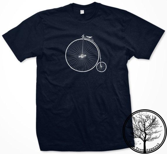 Old School Penny Farthing Bike on Unisex Men's XL Navy Blue color 2001 American Apparel T-shirt