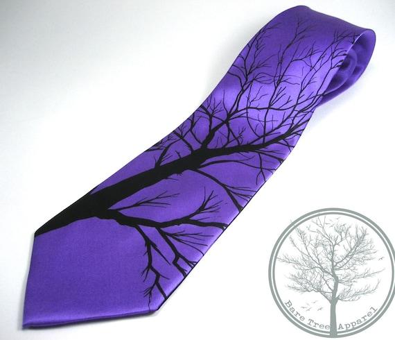 Bare Tree Print on Purple 100% Handmade Silk Tie