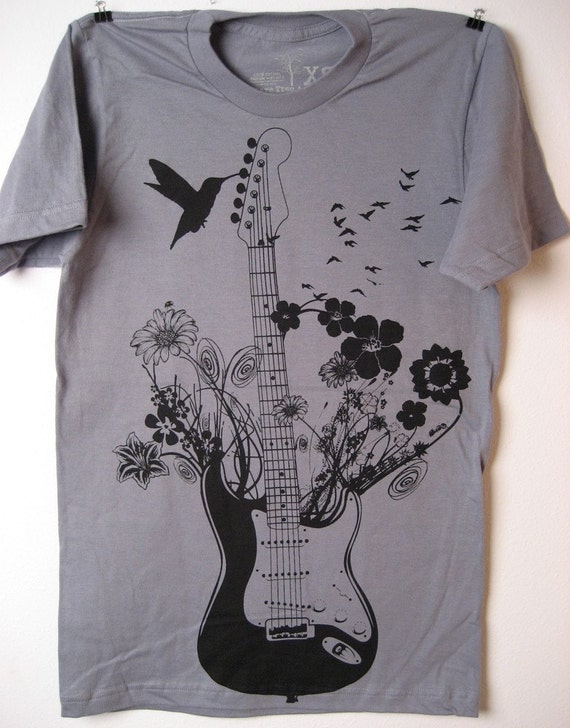 NEW Blooming flowering Electric Guitar with birds on SMALL Slate American Apparel