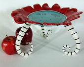 ceramic serving plate, whimsical tall w/ red & turquoise