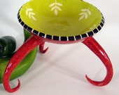 red ceramic dish w/ curly long legs for jewelry, soap, candles, and more