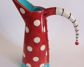 ceramic pitcher w/ funky red & white polka-dots